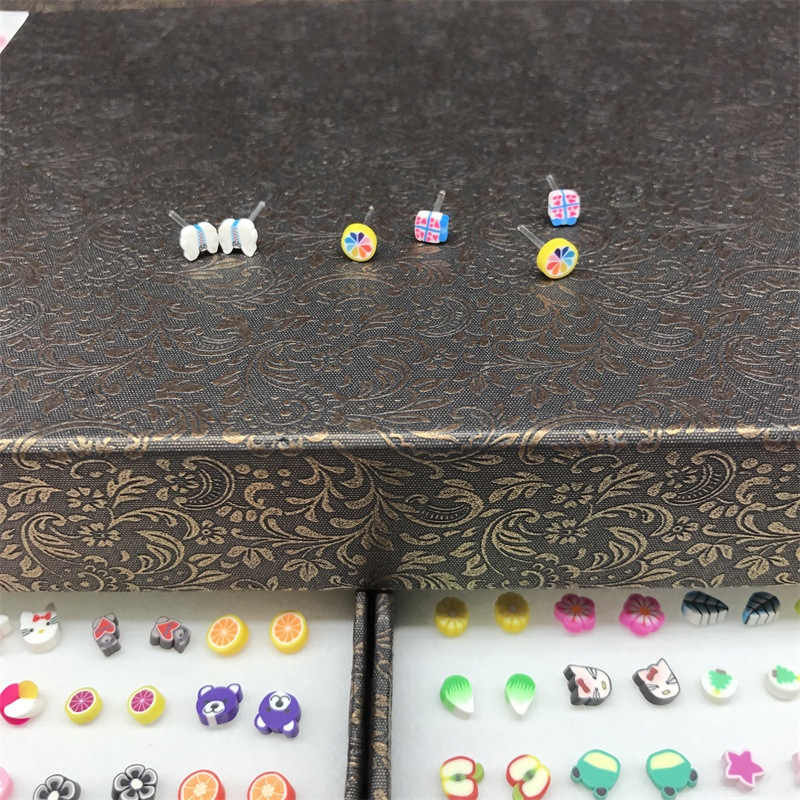 1 pair HOT Fashion Assorted Polymer Clay Stud Earrings Handmade Cute Fruits Cartoon Earrings for Women Girls Children Wholesale