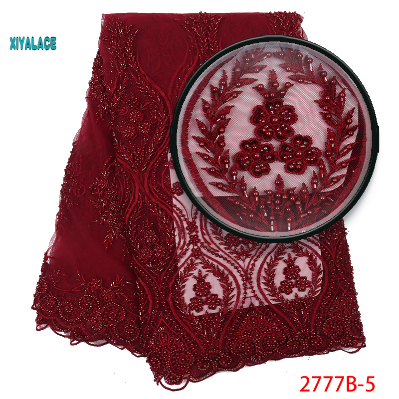 Deep Red Luxury African Embroidery 3D Flower Handmade Beaded Pearls Tulle Lace Fabric With Rhinestones For Wedding YA2777B-5