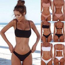 New Solid Sexy Bikini Set Women Swimming Suit Fashion Swimsuit Two-Piece Swimwear Bathing Female Biquini Plus Size XL Sets