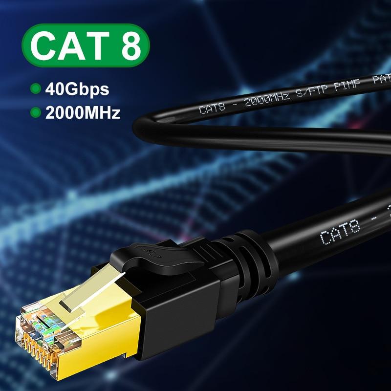 Câble Ethernet Tomtif Rj45 Cat7 Cat8 câble Lan Double fil blindé CAT 8 40Gbps 2000MHz cordon réseau pour ordinateurs portables PS 4 routeur