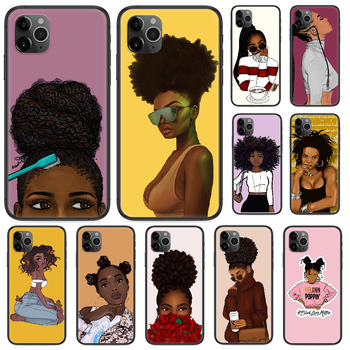 2bunz Melanin Aba African girl Phone case For iphone 4 4s 5 5S SE 5C 6 6S 7 8 plus X XS XR 11 PRO MAX 2020 black shell soft Etui image