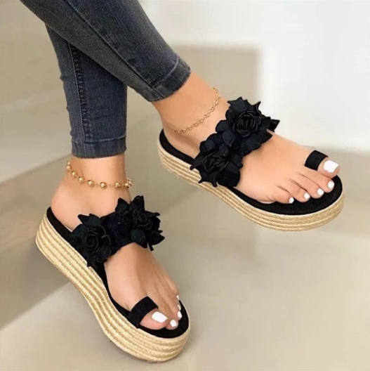 Fashion Women Girls Floral Flat Bohemian Style Lady Casual Sandals Slippers Beach Shoes Sweet Wedge Platform Sandals Sandalias