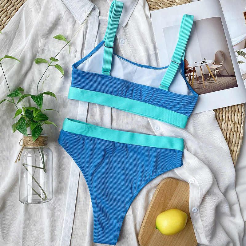 INGAGA High Waist Bikini 2020 Pakaian Renang Bandeau Baju Renang Wanita Splicing Biquini Pakaian Renang Olahraga Berusuk Pakaian Baru