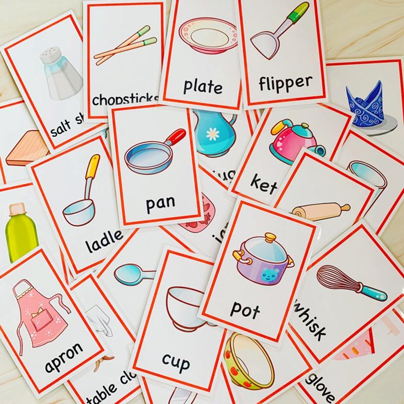 criancas aprendendo cartoes cozinha suprimentos montessori 02