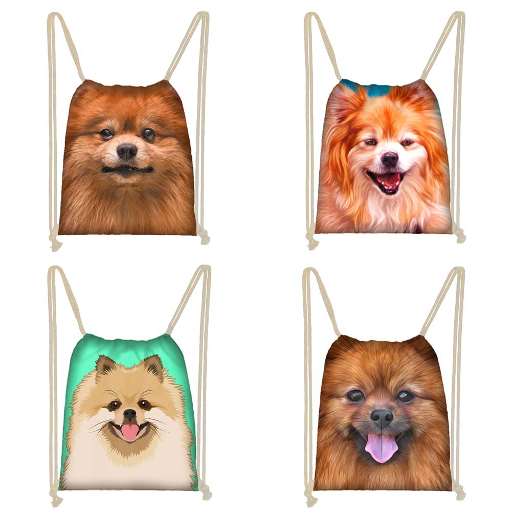 Twoheartsgirl Pomeranian Print Student Kids Drawstring Bags Cute Women Travel Storage Bags Personalized Drawstring Backpacks