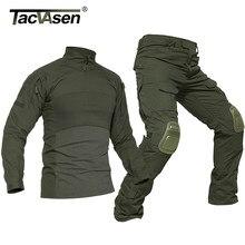 TACVASEN-ropa militar para hombre, uniformes tácticos del ejército, pantalones de seguridad de combate, Airsoft, camisetas, Paintball, tiro, traje de caza
