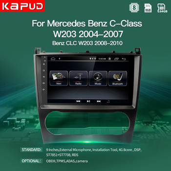 KapudAndroid 10.0 Autoradio GPS Stereo Navigation Player For Mercedes Benz W203 CLK W203 C200 9''Multimedia Radio With Wifi DSP image