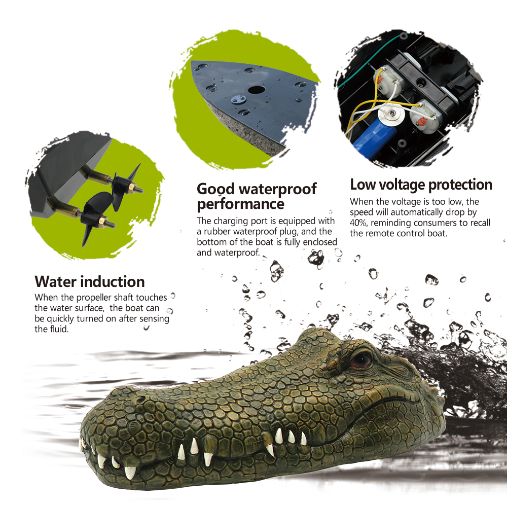 Flytec V002 RC Boat 2.4G Remote Control Electric Boat /& Crocodile Head Spoof Toy