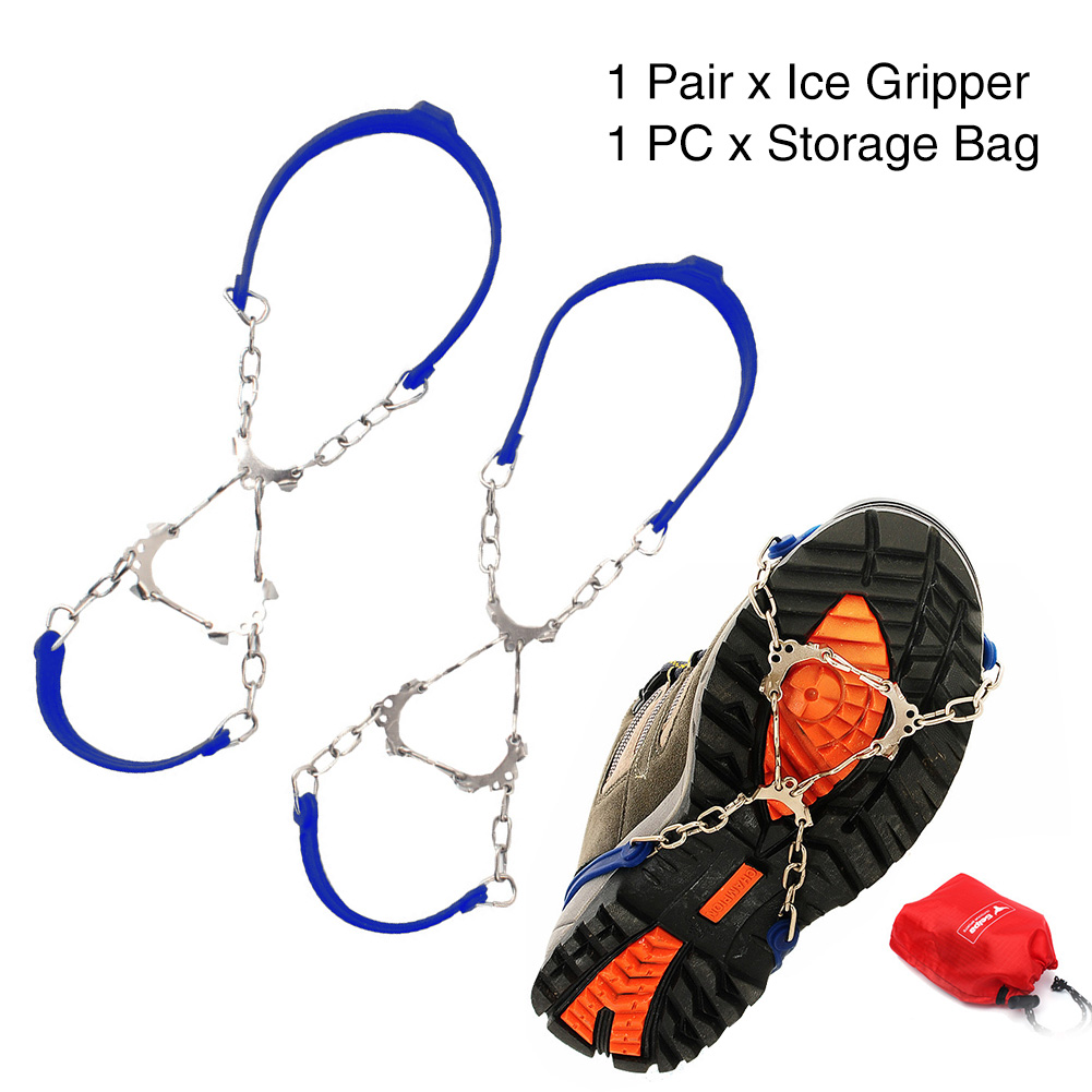 1Pair Chain Winter Outdoor Climbing Crampon Anti Slip 6 Teeth Ice Gripper Snow Hiking Sports Cleats Silicone Shoe Spikes