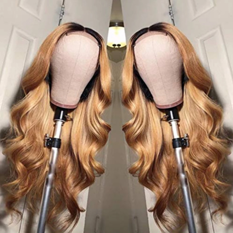 Ombre 1B27* Long Body Wave Synthetic Wigs High temperature For Black Women Cosplay Wig Kanekalon Wig Adjustable Strap
