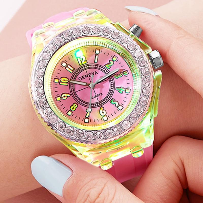 Модные Светящиеся светодиодный детские часы карамельного цвета силиконовые часы с лампой для студентов детские часы