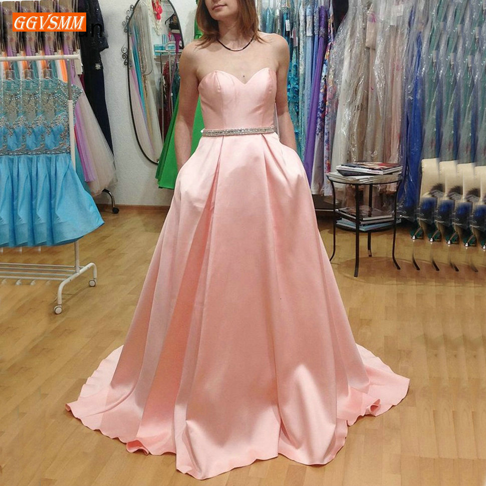 Graceful Pink   Prom     Dress   Sweetheart Satin Pockets Sashes A Line   Prom   Gown Zipper Sweep Train Women Formal   Dresses   Party Evening