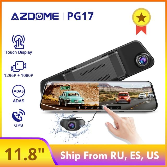 """AZDOME 12 """"espejo Dashcam PG17 coche DVR 1296P Touch pantalla completa de lente doble 1080P medios retrovisores cámara de marcha atrás"""