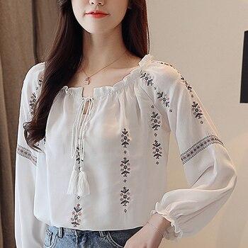 Women Tops Spring 2020 Winter New Blouses Shirts Woman Embroidery Chiffon Long Sleeves Tassel Collar White Chiffon Shirts 623F цена 2017