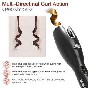 Автоматическая Плойка для завивки с регулировкой температуры и регулируемым временем для завивки волос палочка для завивки ЖК-дисплея вращающаяся маленькая портативная машинка для укладки волос для женщин