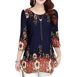 Women Tops 2021 New Blouse shirt Plus size 4XL Casual Blue Red Women's Clothing O-neck floral Print Feminine Tops blusas 993D