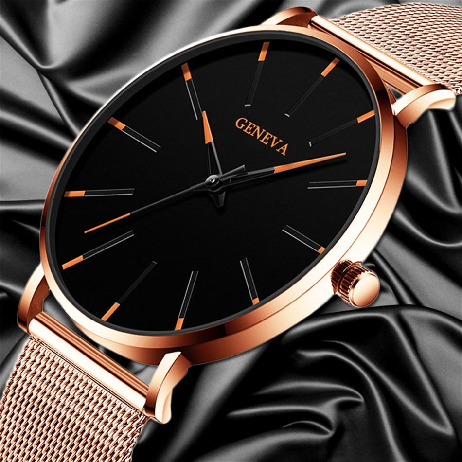 H9101e8c584b242798b365b5dedf02ff7p 2020 Minimalist Men's Fashion Ultra Thin Watches Simple Men Business Stainless Steel Mesh Belt Quartz Watch Relogio Masculino