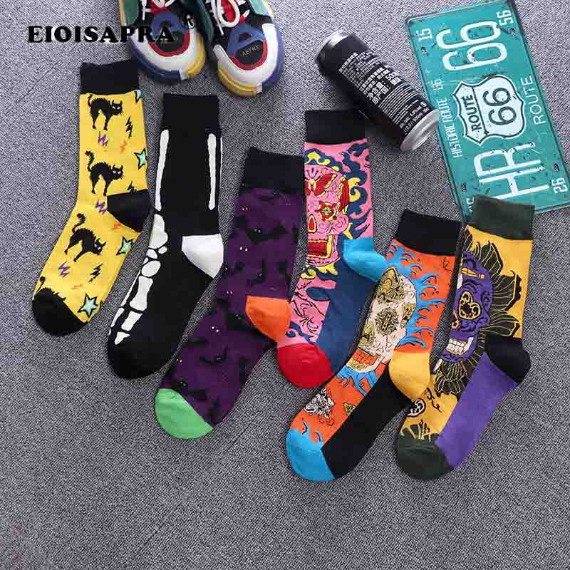 Fashion Street Personality Tide Socks Combed Cotton Maple Leaves Flowers Hip Hop Unisex Funny Sock High Quality Skateboard Sock