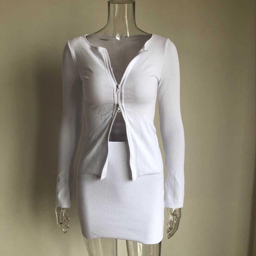 XLLAIS Rippen weiß tops 2019 Herbst Neue Ankünfte langarm vorne doppel offenen zipper jacken casual streetwear stricken mäntel