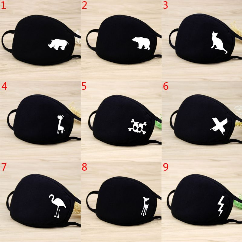 1 Pc Unisex Winter Warm Thickening Half Face Mouth Mask Cotton Cartoon Pattern Anti-Dust Anti-Bacterial Respirator Classic Black