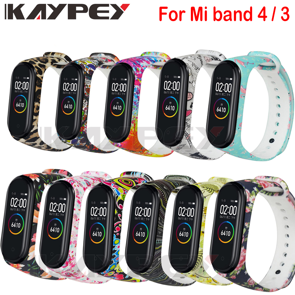 For Mi Band 4 Strap Silicone Varied Flowers Printing Pulsera Miband 3 Strap Correa Fashional Sport Wrist Strap For Xiaomi Mi 4 3