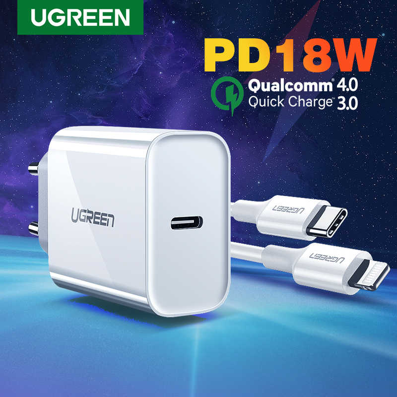 UGREEN PD Charger 18W QC4.0 QC3.0 USB Type C Fast Charger Quick Charge 4.0 QC 3.0 สำหรับiPhone 11 X XS 8 Xiaomiโทรศัพท์PD Charger