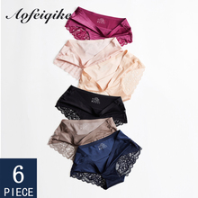 6 Pieces Woman Panties Seamless Sexy Ice Silk Underwear For Woman Soft Panties Female Woman Underwear Sexy Lace Briefs New M-XXL