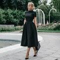Alta qualidade elegante vestido preto das senhoras do vintage ajuste e alargamento do baile de formatura noite formal vestido 2019 vestidos retro inverno d25