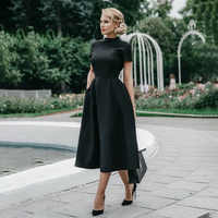 High Quality Elegant Black Dress Women Vintage Ladies Fit and Flare Prom Party Night Formal Dress 2019 Retro Dresses Winter D25