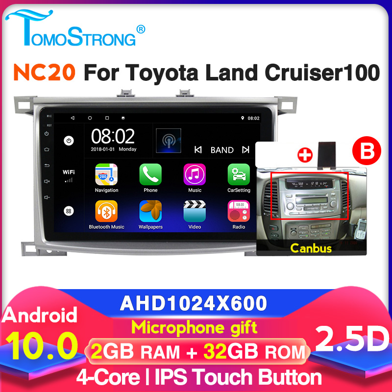 NC20 2+32G Car multimedia player For <font><b>Toyota</b></font> Land Cruiser <font><b>LC</b></font> <font><b>100</b></font> 2002 - 2007 Android 2 din GPS audio stereo no dvd free mic image