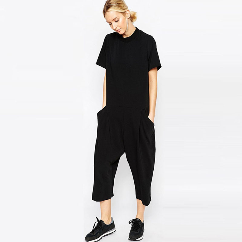 Black Casual Jumpsuit For Women Side Pocket Loose Fitting Body Feminino Jumpsuits Romper Overalls Pants Tracksuit