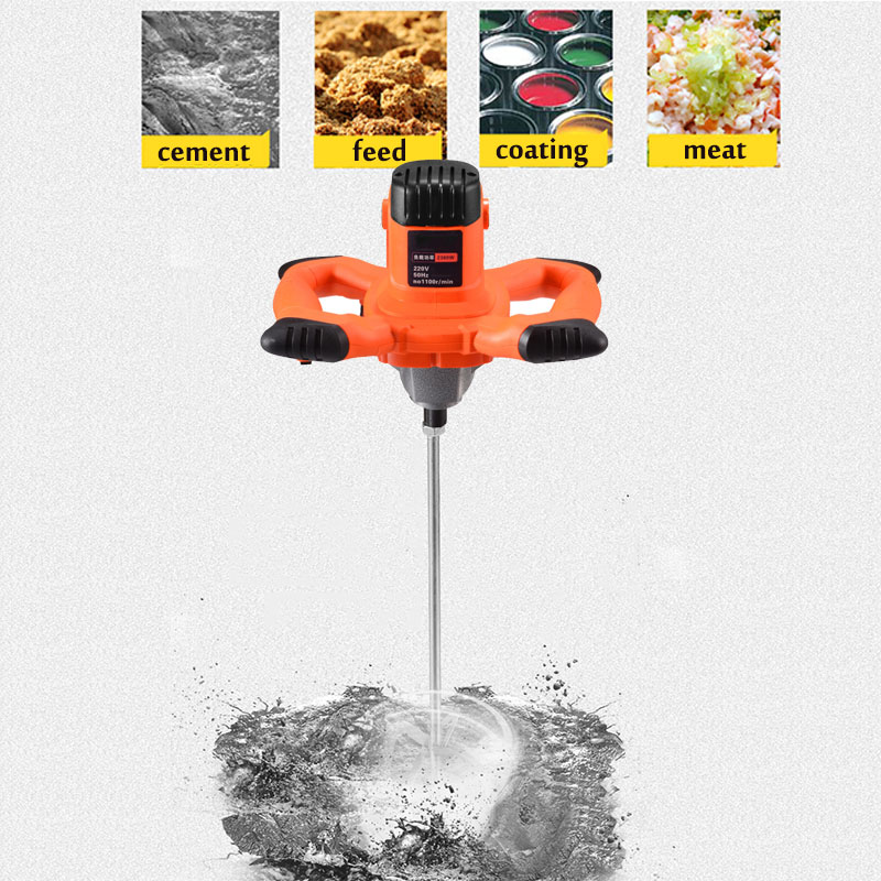 Handheld Electric 6 Putty 220V Mixing Cement Dual Machine Mixer 2380W High Powder Becornce Low Paint Gear Speed Mortar Grout