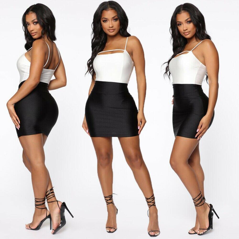 Women Sexy PU Faux Leather Bodycon Pencil Stretch High Waist Mini Short Skirt Lady Sexy Mini Skirts Clubwears