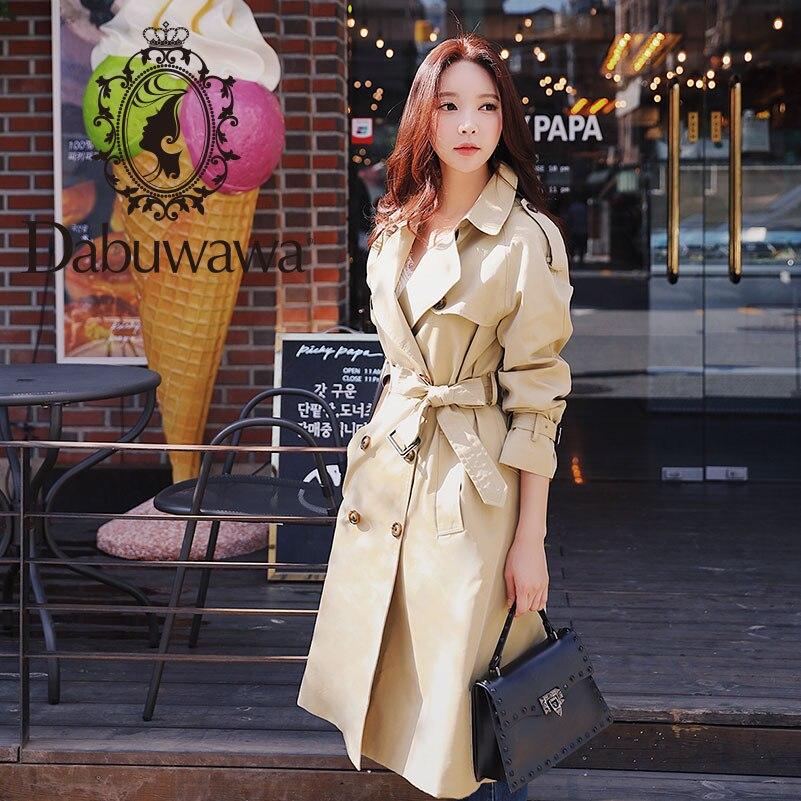 Dabuwawa Autumn Women Khaki Chic Cloak Trench 2019 New Highstreet Workwear Double Breasted Belted Long Coat Outwear D18CTC025