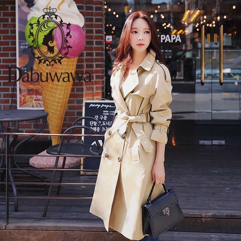 Dabuwawa Spring Women Khaki Chic Cloak   Trench   2019 New Highstreet Workwear Double Breasted Belted Long Coat Outwear D18CTC025