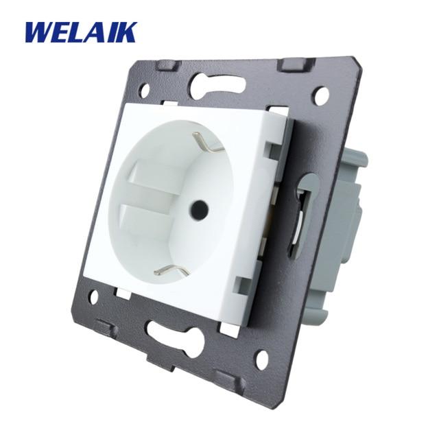 WELAIK EU Standard Power Socket DIY Parts Wall Socket parts Without Glass Panel A8EW/B