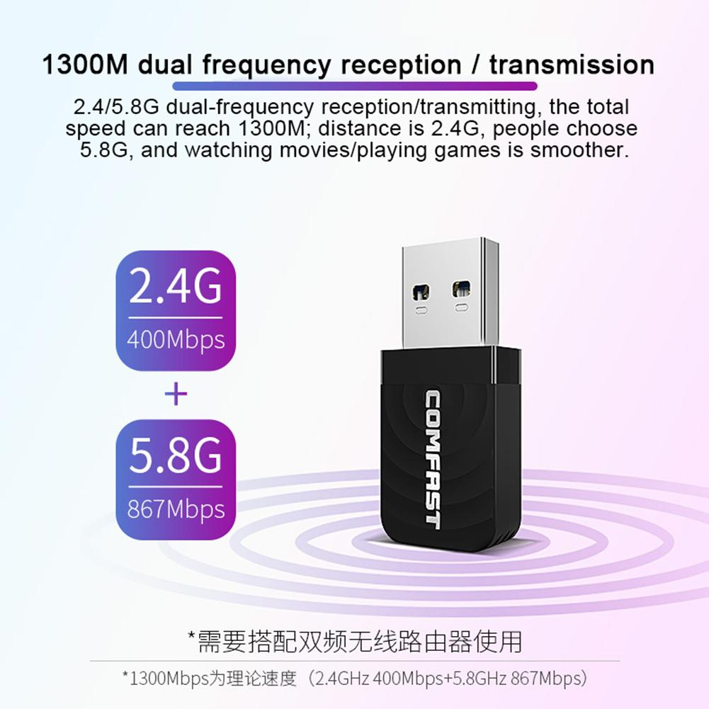 Dual Frequency 1300M Gigabit USB Mini Portable Unlimited Receiver CF-812AC USB WiFi Adapter- 1300Mbps USB Wireless Network