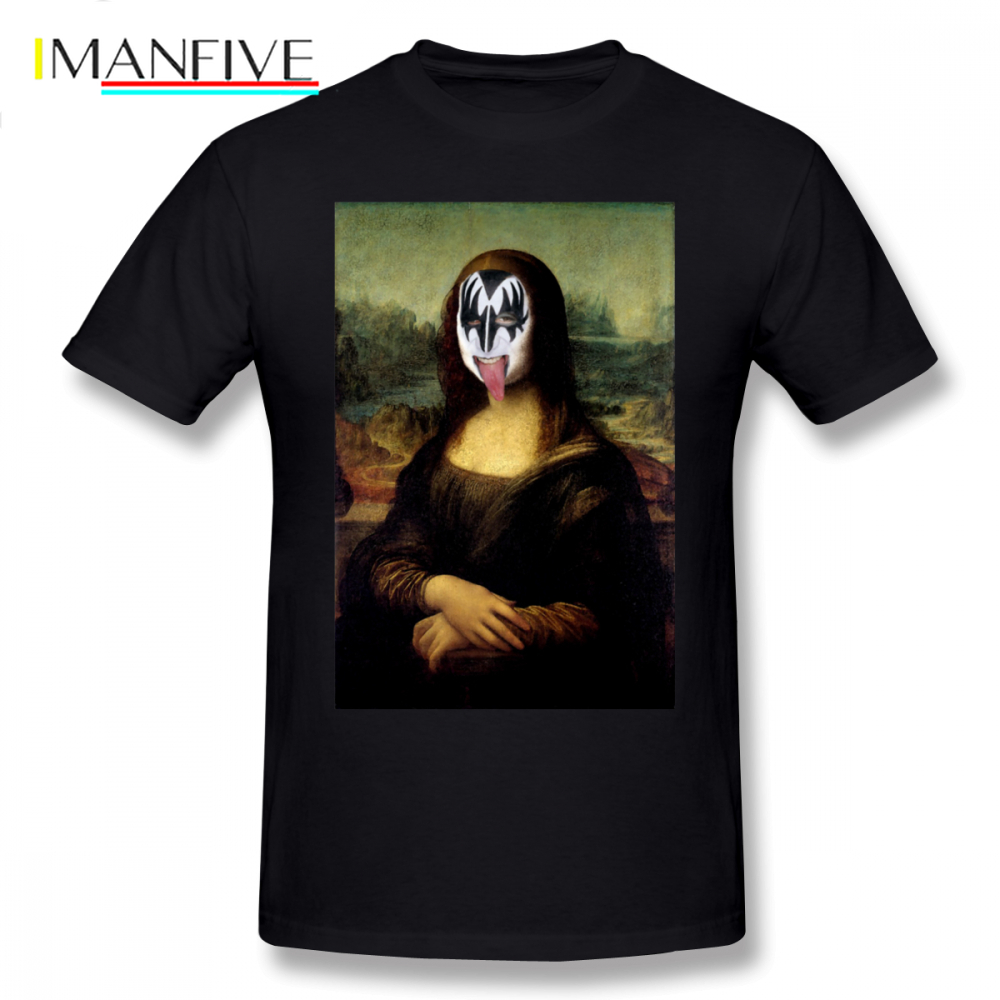 Mona Lisa T-Shirt Funny Rock And Roll In Kiss Make Up Gift T Shirt Cute Print Tee 6xl Men Short-Sleeve Tshirt