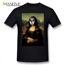 Mona Lisa T-Shirt Funny Rock And Roll Mona Lisa In Kiss Make Up Gift T Shirt Cute Print Tee Shirt 6xl Men Short-Sleeve Tshirt