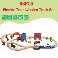 88PCS Wooden Train Track Railway plane Set Diecast Car Model Puzzles Magnetic Wood Track Set Educational Toys For Children