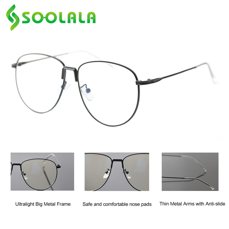 SOOLALA Oversize Mens Metal Reading Glasses Women Glasses Magnifier For Reading Presbyopic Reader Glasses 0.5 1.25 1.75