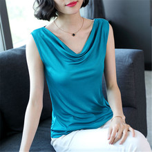 Silk Blouse Women Elegant Woman Stain Blouses Summer Solid Plus Size Tops Office Lady Shirt