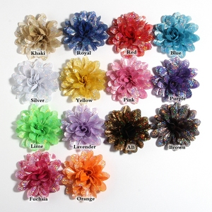 """Image 2 - 50PCS 8CM 3.1"""" New Artificial Metallic Fabric Flower For Hair Accessories Chiffon Shiny Scallop Flowers For Wedding Boutique"""