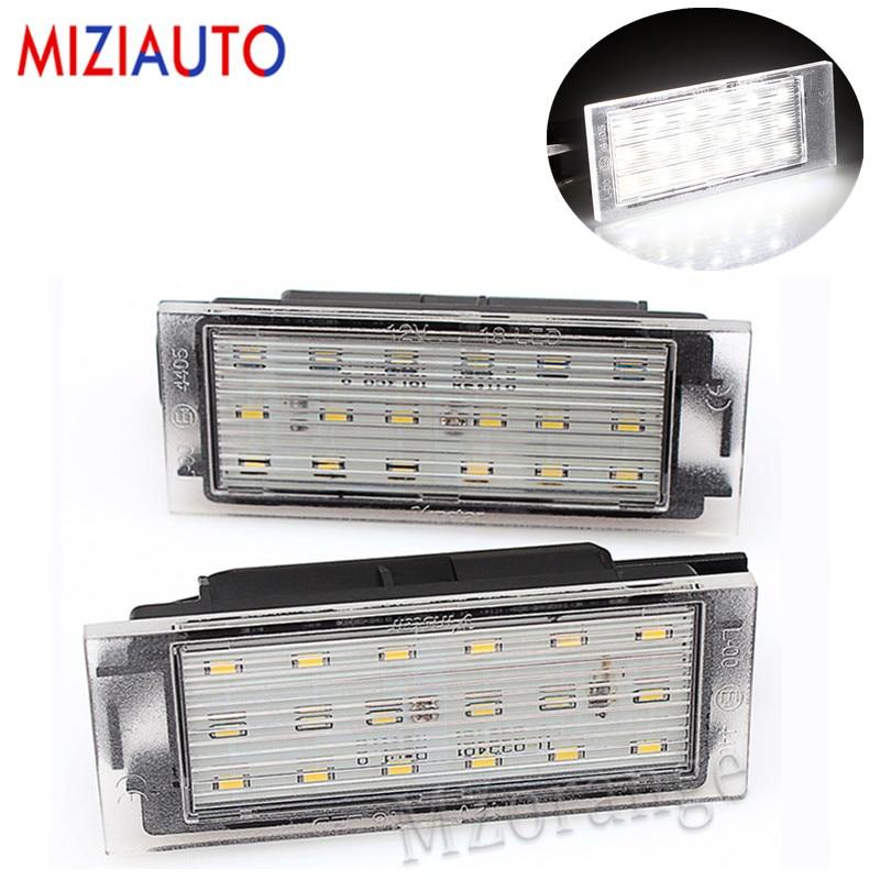 Luz de LED para placa de matrícula MIZIAUTO para Renault Clio Laguna 2 Megane 3 2 uds, luces de coche Twingo Master Vel Satis SMD3528