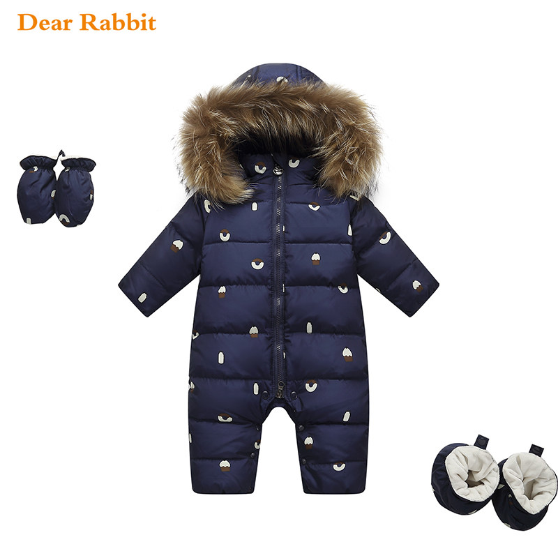 new born jumpsuit kids winter baby clothes snowsuit nature fur 90% duck down jacket for girls coat Park for boy overalls rompers