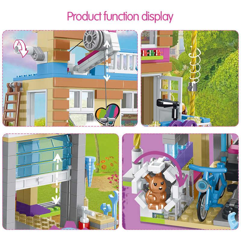 868 шт. строительные блоки для девочек, Дом дружбы, штабелируемые кирпичи, совместимые с Legoinglys для девочек, друзья, детские игрушки для детей