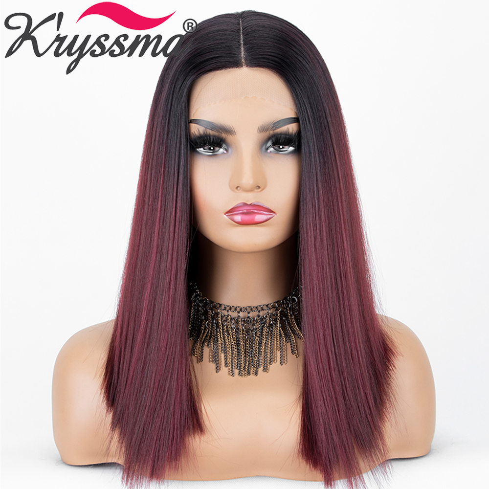 Kryssma Ombre Dark Red Synthetic Lace Front Wigs Two Tones Dark Roots Short Bob Wigs for Black Women L Part Heat Resistant Fiber