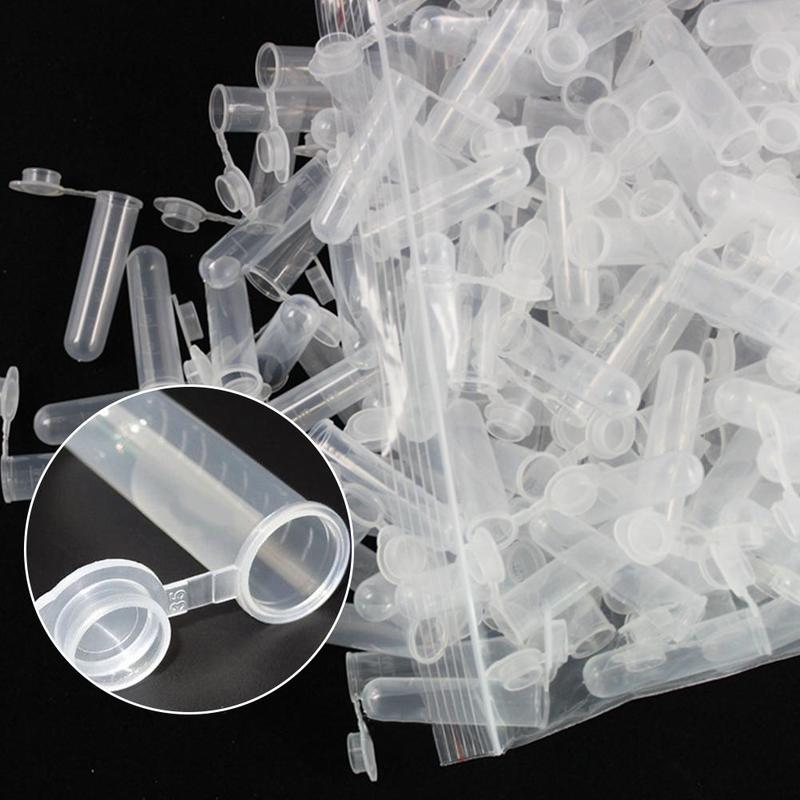 50pcs/pack 5ml Round Bottom With Lid Centrifuge Tube Plastic Sample Vial Small Tube Test Tube Mini Storage Container Stationery