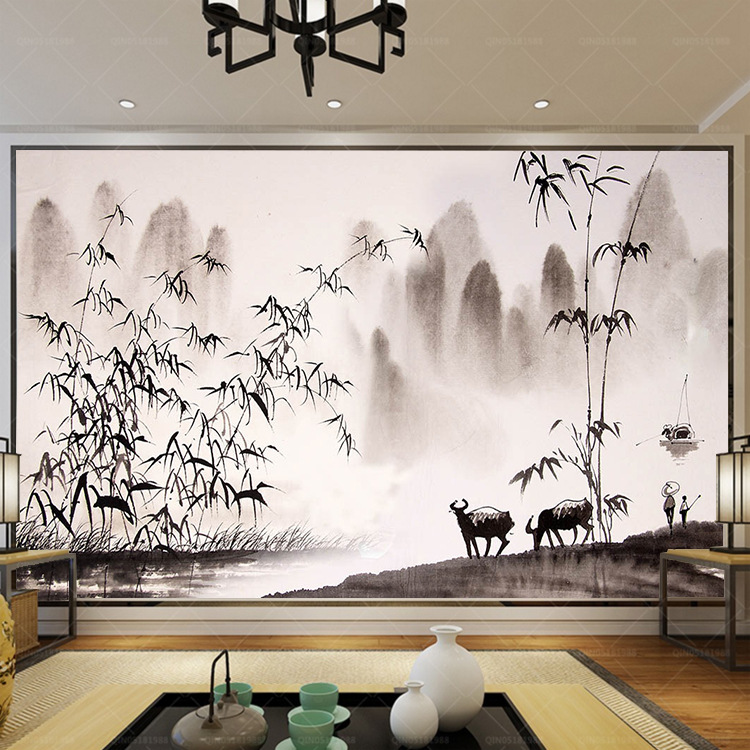New Chinese Style Ink Landscape Painting 3D Wallpaper Mural Living Room Television Background Wall Library Film And Television W