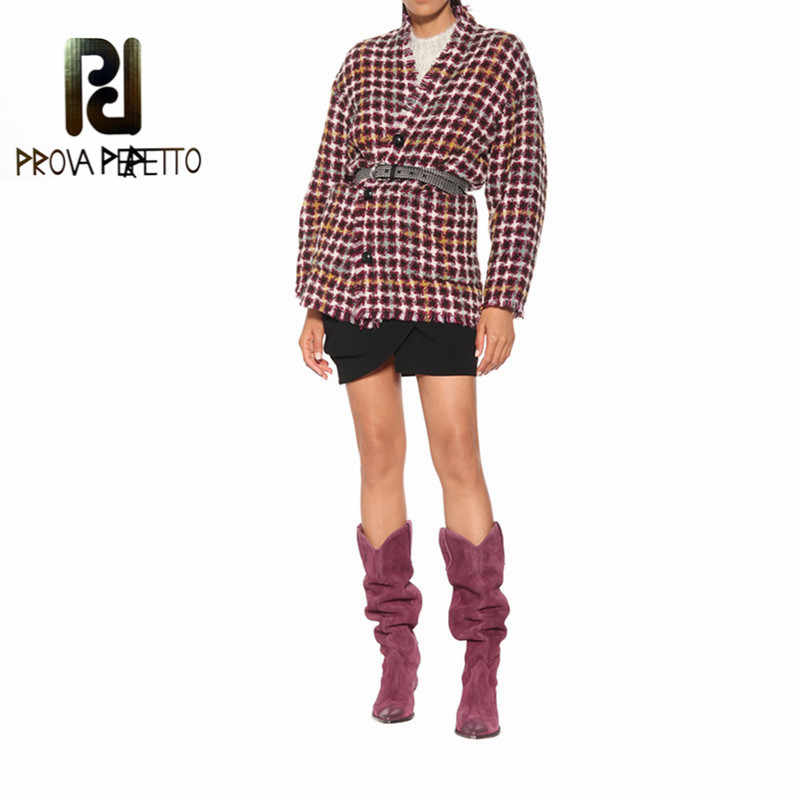 Prova Perfetto yeni düşük topuk orta buzağı Donna çizmeler kadın sıcak tutmak kalın topuk kar Botas Mujer Invierno moda kadın süet çizmeler